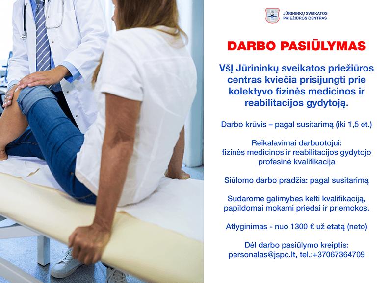 Darbo pasiūlymas fizinės ir medicinos reabilitacijos gydytojui 1300€