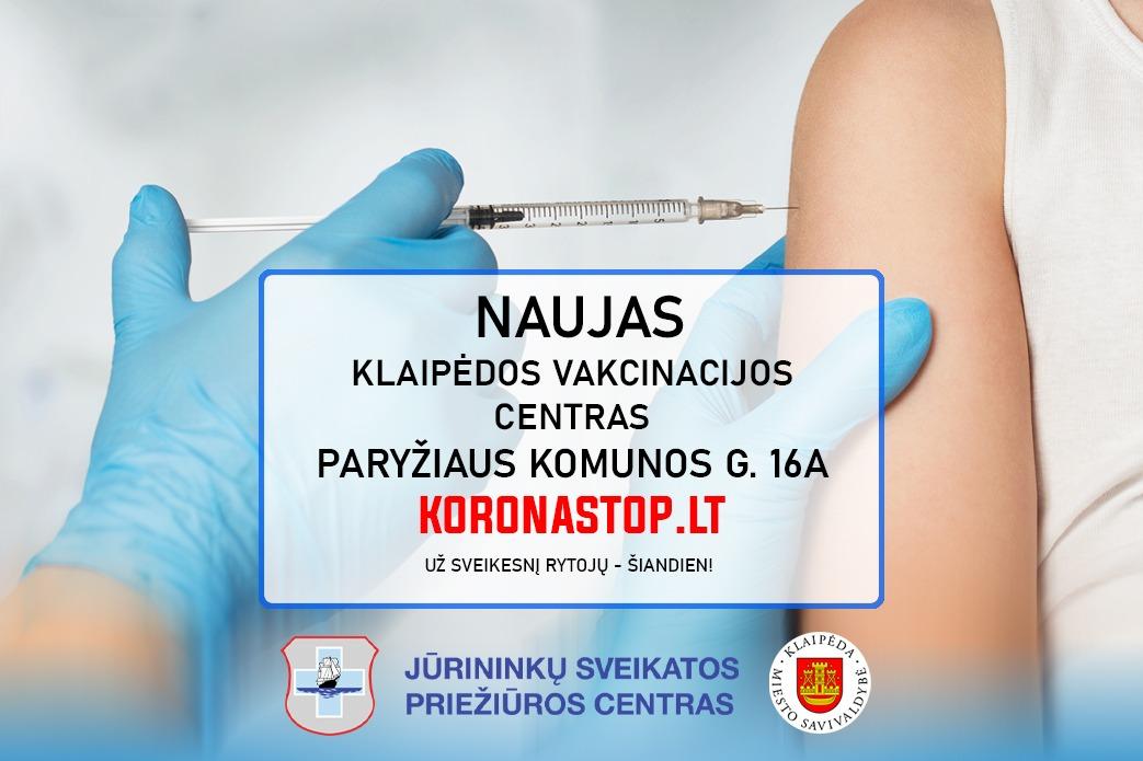 Klaipėdos vakcinavimo centras keliasi į kitą vietą